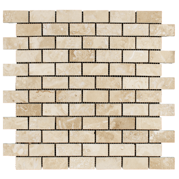 1x2 Ivory Travertine Honed
