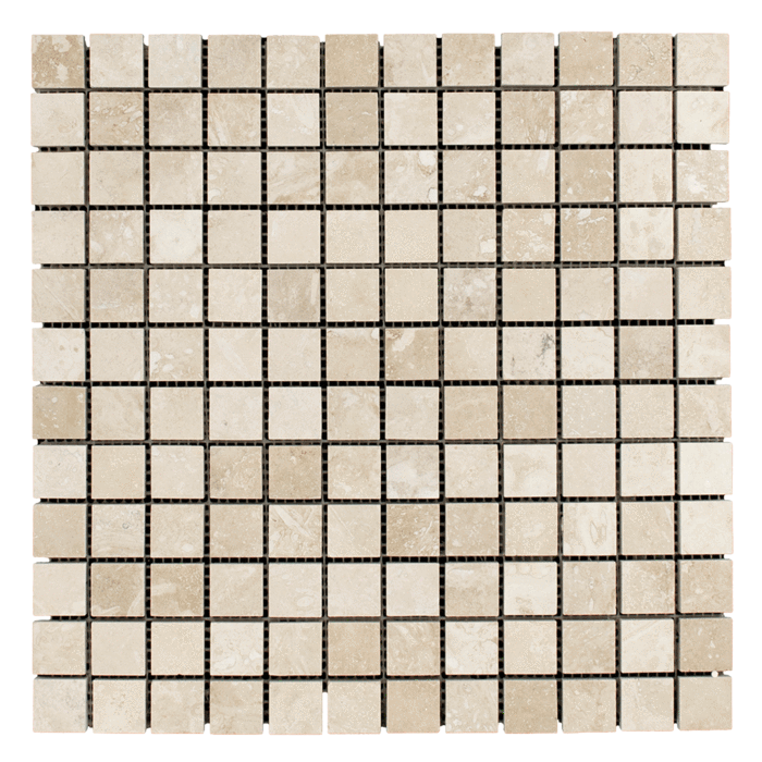1x1 Ivory Travertine Honed