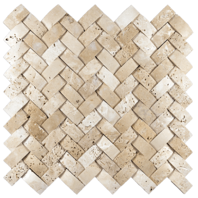 1x2 Ivory Travertine Cambered Herringbone