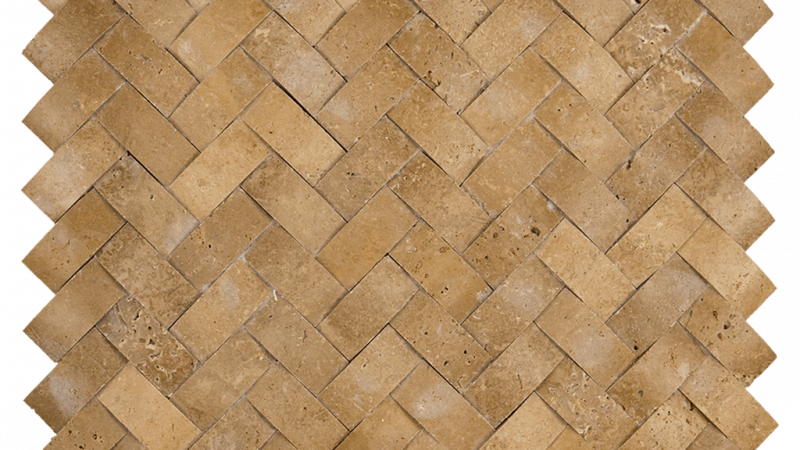 1x2 Noche Travertine Cambered Herringbone Honed