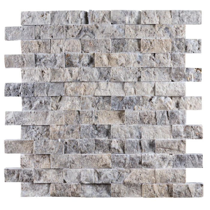 1x2 Silver Travertine Split Face