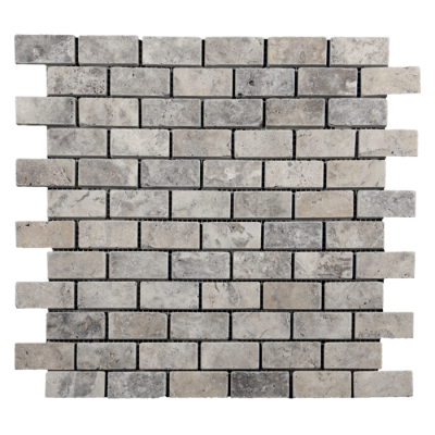 1x2 Silver Travertine Tumbled