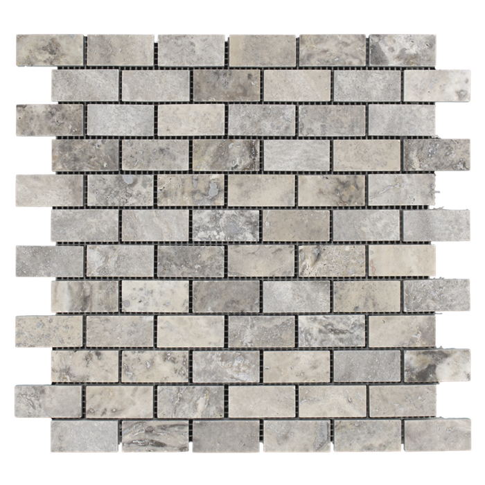 1x2 Silver Travertine Honed