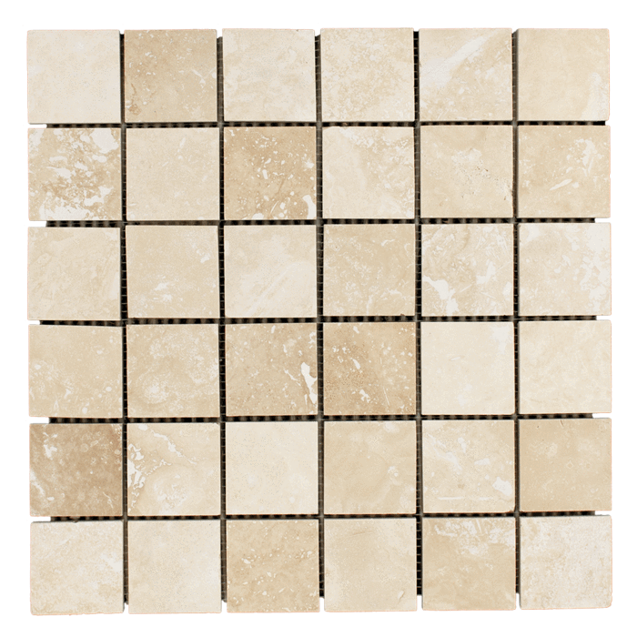 2x2 Ivory Travertine Honed