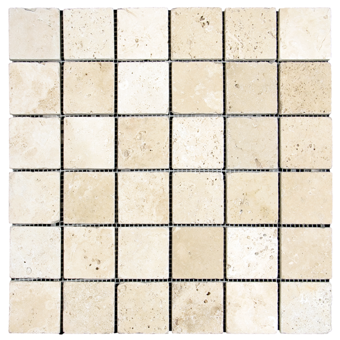 2x2 Ivory Travertine Tumbled