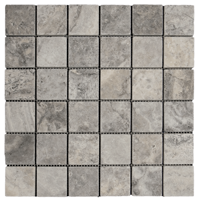 2x2 Silver Travertine Tumbled