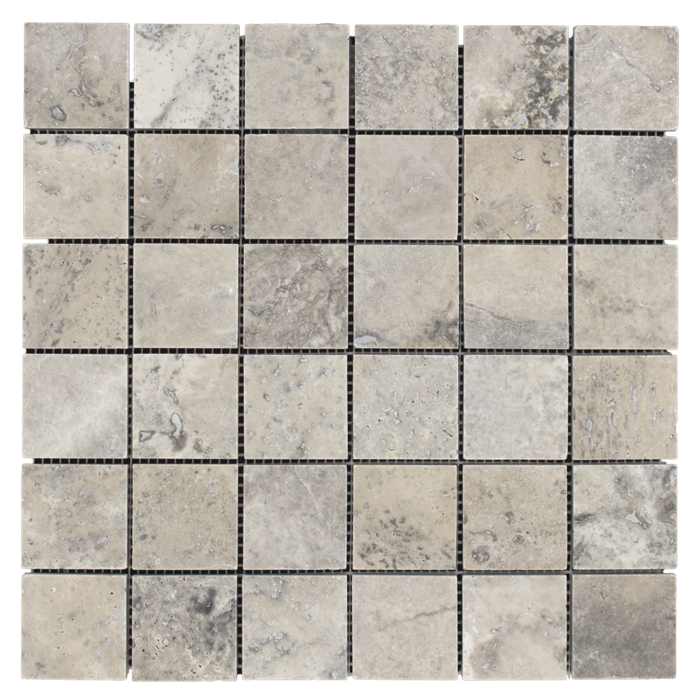 2x2 Silver Travertine Honed