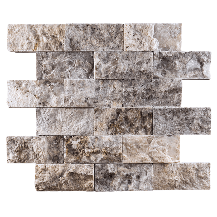 2x4 Silver Travertine Split Face