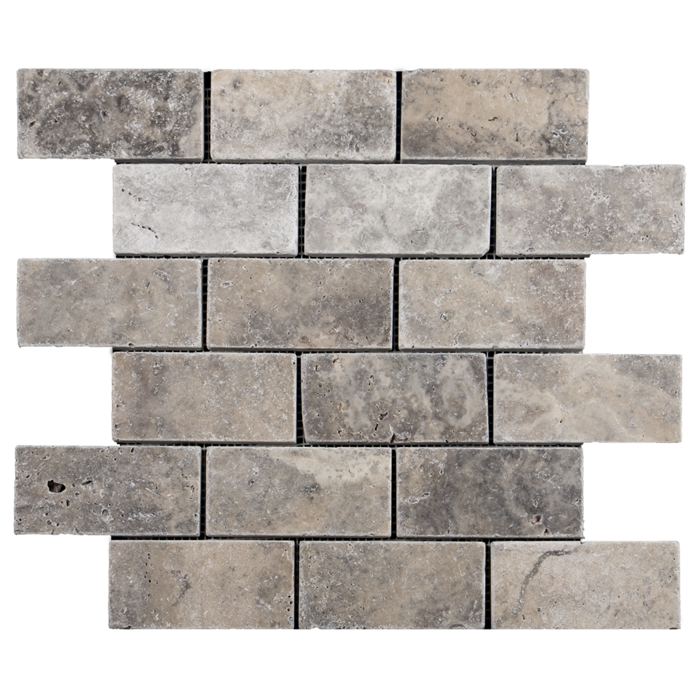 2x4 Silver Travertine Tumble